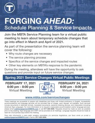MBTA SPRING 2021 SERVICE CHANGES